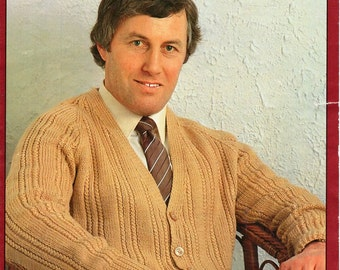"Vintage mens DK cardigan knitting pattern pdf  v neck ribbed larger sizes 42-60""DK light worsted 8ply mens knitting pattern instant download"