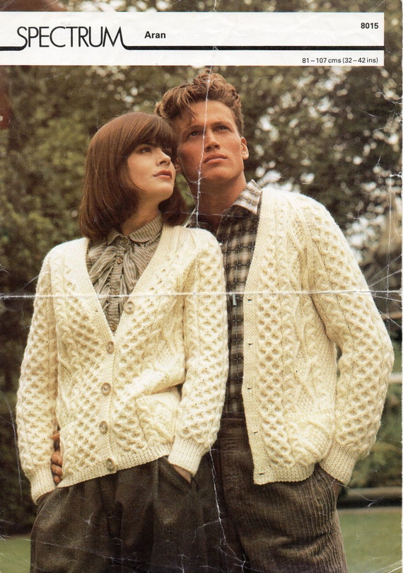 Knitting Pattern For Jacket For Ladies : Womens / mens Aran cardigan knitting pattern PDF Aran Jacket v