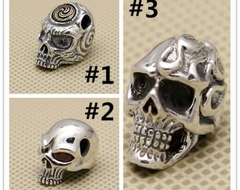 Sterling Silver Skull Beads, 925 Silver Skull Beads, Sterling Skull Beads for Skull Necklaces - F675
