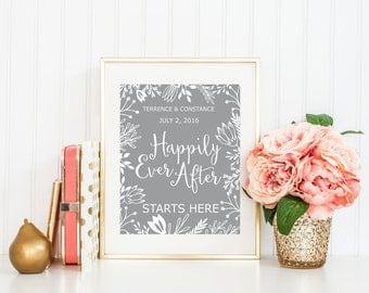 Wedding Printable Wedding Date Print Custom Personalized Name Date Print Calligraphy Printable Floral Print Happily Ever After Starts Here