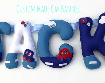 Felt Name Banner Garland - Transport Themed Nursery Bunting - Gift for new baby - Vehicle nursery - playroom decor - transport nursery decor