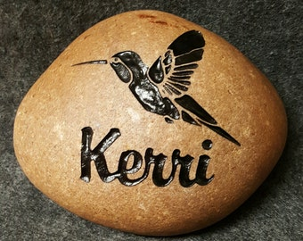 """HUMMINGBIRD GARDEN STONE Engraved on 6""""-7"""" Stone. Will last forever. Option to Personalize with Name. They will will love it for their Yard!"""