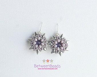 Star Silver Lilac Earrings, Spike Punk Earrings, Violet Light Purple Dangle Drop Earrings, Beadwork, Bridal Earrings, Lightweigted Jewellery
