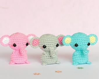 Amigurumi elephant crochet, Mini elephant plush, Tiny crochet elephant plushie, Stuffed animal elephant, Mini amigurumi animals, Mini animal