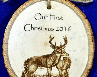 First Christmas ~ First Christmas Ornament ~ Christmas Gift For Couple ~ Engraved Wood Ornament ~ Buck and Doe ~ Christmas Ornament ~ Deer ~