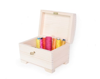 medium wooden treasure chest with key, wooden box lock wedding, jewelry, gift, natural, unfinished, plain wooden trinket, unpainted pine