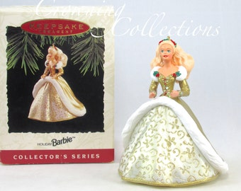 1994 Hallmark Holiday Barbie Keepsake Ornament 2nd in Celebration Series Gold Dress Vintage Doll RARE Christmas