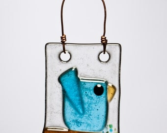 Happy Aqua Bird Handmade Fused Glass Suncatcher