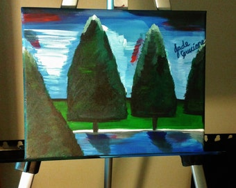 Landscape Painting Somewhere Among the Trees Woodland Water Lake Sky Blue Green 8 x 10