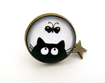 Ring cabochon black cat and Butterfly