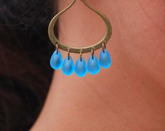 Blue Glass Bead Earrings, Egyptian Inspired Earrings, Oval Hoop Earrings, Something  Blue Jewelry