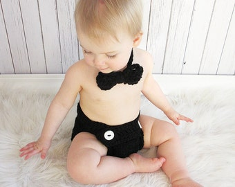 Bow Tie and Diaper Cover Set, Baby Boy Photo Prop Set, Newborn Photo Set