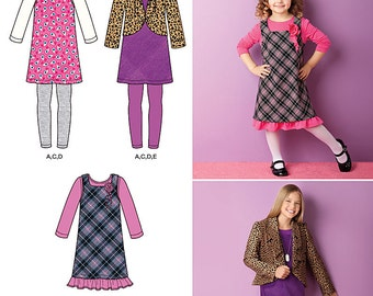 Simplicity 2156 Girls Jumper, Jacket, Leggings, Dress and Top. Size 7-14. Pattern is new and uncut.