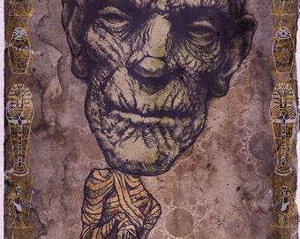 Mummy Boris Karloff Art Print by award winning artist Brady Stoehr
