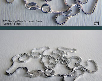 SALE 15% OFF. 925 Sterling Silver and 925 Sterling Silver platinum plated Necklace Chain, box chain, 1mm, 0.8mm Length:16in. and 18in.