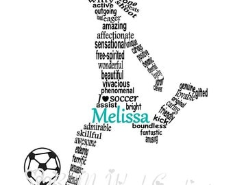 Soccer Player Word Art, Football Player Word Art, Personalized Soccer Player Gift, Soccer Coach Gift, Soccer Art, PRINTABLE DIGITAL FILE