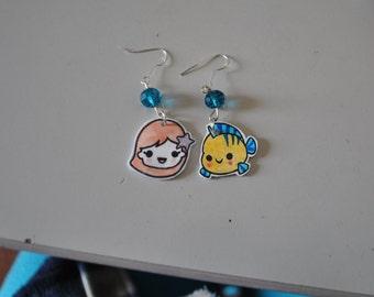 Ariel & Flounder earrings