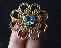 Old Soviet Vintage Lught Blue Brooch Vintage Light Blue Jewelry from USSR 70s Gift for Mom For Her For Girlfriend For Sister Birthday Gift