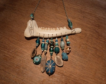 Turquoise Adorned Muntjac Deer Jaw Bone Necklace