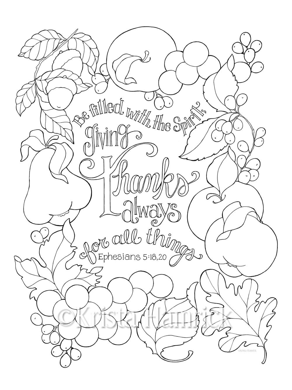 Give Thanks For All Things coloring page in two by ...