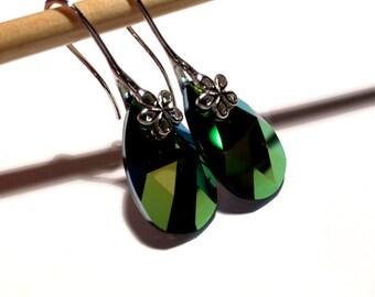Scarabeus Green Swarovski Earrings, Green Pear Swarovski Earrings, Bright Green Swarovski Earrings, Swarovski Jewelry