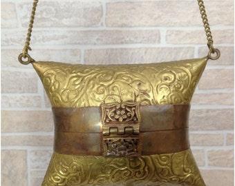Vintage brass pillow clutch purse