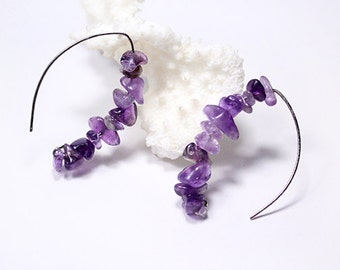 gemstone earrings cluster jewelry purple earrings amethyst gift jewelry statement earrings boho jewelry girlfriend gift bold earrings ї08