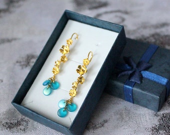 gift/for/her gold blue earrings cluster jewelry boho gift/for/wife elegant earrings girlfriend gift romantic jewelry gift teal earrings пя88