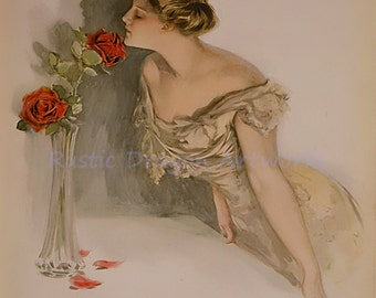 """Harrison Fisher """"American Beauties, Woman Smelling a Rose"""" 1907 Reproduction Digital Print Vintage Print Wall Hanging"""