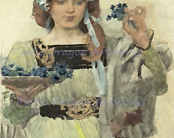 "Vojtech Hynais ""Angelica Taussigs"" Woman Holding Flowers 1900 Reproduction Digital Print Vintage Print Wall Hanging"