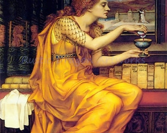 """Evelyn De Morgan """"The Love Potion"""" 1903 Reproduction Digital Print Couple in Love Bottle of Potion Spells Witchery Magic Sorcery"""