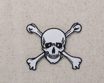 Jolly Roger - Black/White - Skull with Crossbones - Iron on Applique - Embroidered Patch - LARGE or SMALL