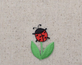 Red and Black Ladybug - Flower Stem - Iron on Applique - Embroidered Patch - AP-511547