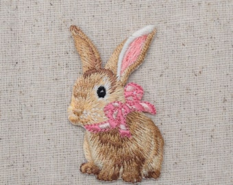 Bunny Rabbit - Hare -  Pink Bow - Iron on Applique - Embroidered Patch - 1515572A