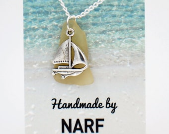 Yellow Sea Glass Pendant with Sailboat Charm Necklace