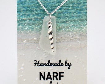 White Sea Glass and Spiral Shell Necklace