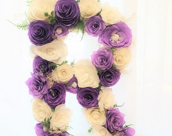 "Lavender paper flower letter, Floral letter, Large 16"" Paper mache Letter, Wall decor, Baby shower floral letter, Nursery decor,Kids's decor"