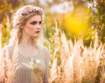 Floral Half Wreath flower crown head wreath headband fairy hair crown wedding wreath bridal hair accessories flowers woodland whimsical