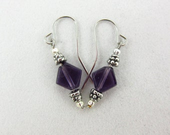 Purple Glass Earrings Handmade Silver Plated Dangle Earrings