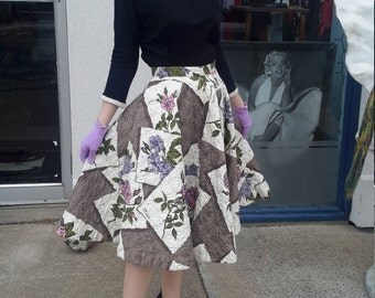 Alex Coleman of California vintage 1950 circle skirt rhinestones, quilted for women excellent vintage condition.