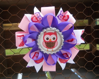 Owl bow, owls, handmade girls pink and purple loopy spiked stacked hair bow