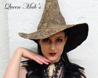 Paisley Gold Scroll Work Witch or Wizard Hat