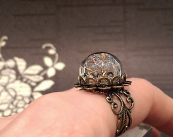 Real Dandelion Ring, Dandelion Wish Ring, Terrarium Ring