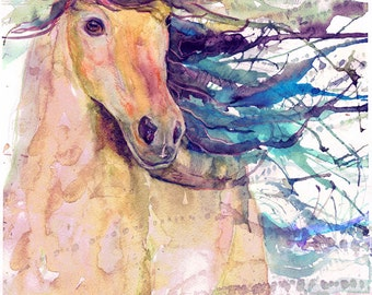 Horse print, equestrian, equine art , abstract horse painting, equine watercolor expressions, horse lover, decor, wild horse gifts, dressage