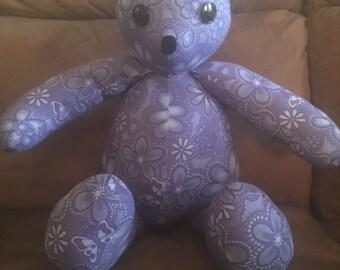 Handmade Flower Print Teddy Bear.   Free Shipping! Code:freeship