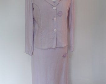Vintage 90 dress suit by Max Pierre lilac linen beaded dress with matching jacket size  medium large
