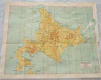 1952 Hokkaido Japan Antique Map