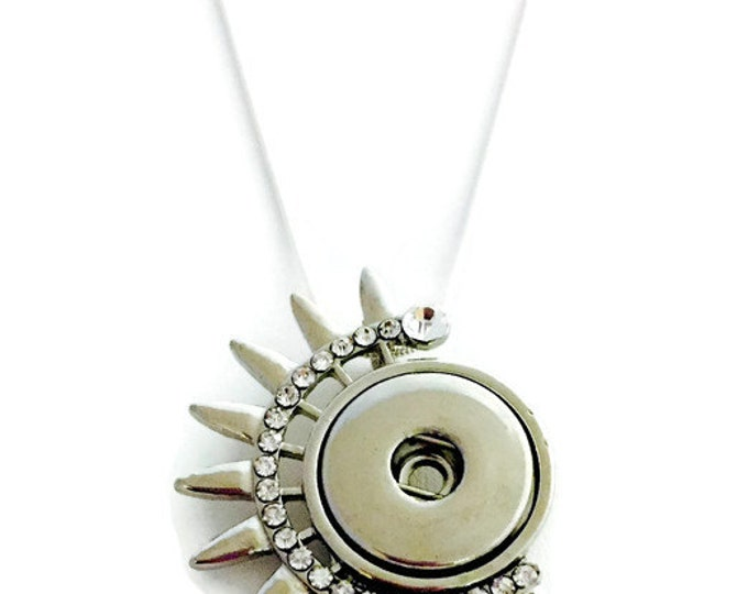 Snap Jewelry- Sunburst Snap Necklace- Interchangeable Jewelry-Fits All Standard Ginger Snap and Noosa Snap Charms and Buttons- Silver Chain