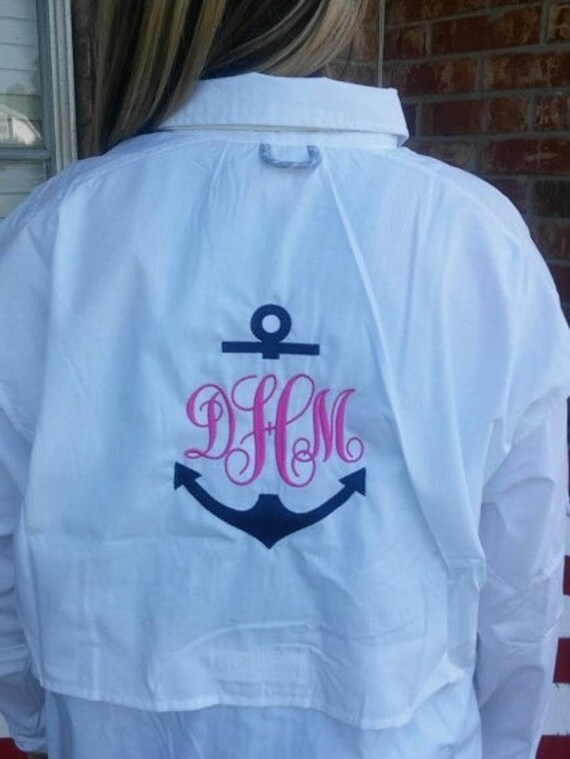 Women 39 s anchor monogrammed fishing shirt by for Monogram fishing shirt