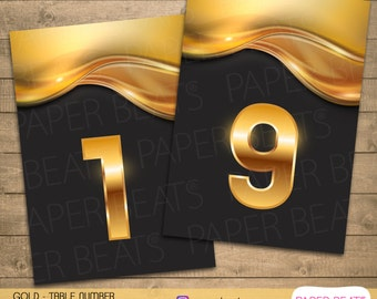 TABLE NUMBERS - Printable Table Numbers - Golden Numbers - Instant Download - Digital Golden Numbers - Numeros Para Mesa